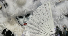 Close up of a venetian mask white Stock Footage