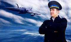 Pilot and military airplan on the speed - stock photo