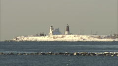Winter Lighthouse scene Stock Footage