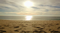 Ocean SunSet Waves - California Beach in the evening. Stock Footage