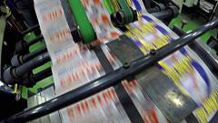 4K transporting printed newspapers CRANE SHOT. UHD offset print shop stock vi Stock Footage