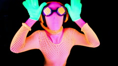 ultra violet disco glow sexy gogo female dancer raver - stock footage