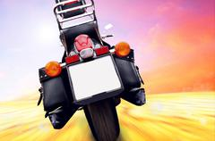 Motorcycle outdoor on speed - stock photo