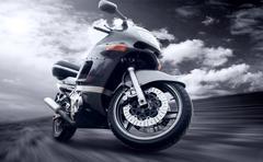 Stock Photo of Motorcycle outdoor on speed