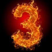 Fire number 3 - stock photo