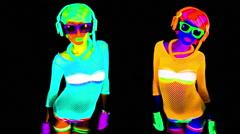 ultra violet disco glow sexy gogo female dancer raver - stock footage