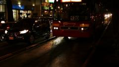 Mexico City Insurgentes Sur Street busy at night Stock Footage