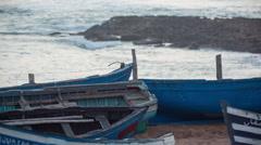 Tifnit sea ocean boats morocco fishermen environment Stock Footage