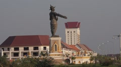 King Chao Anouvong statue along the Mekong,Vientiane,Laos Stock Footage