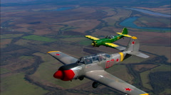 Yakovlev Yak 52 Yak 50 Break to Land Stock Footage