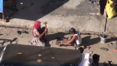 Poor people working in Jodphur  street in Rajasthan blue city,India Stock Footage