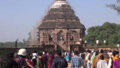 People comes to medieval UNESCO heritage temple of Sun god, Odisha, India Stock Footage