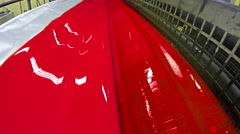 4K Printing Press Red Magenda Ink Unit. UHD stock video Stock Footage