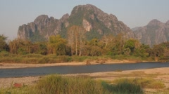 Carst mountain and river,Vang Vieng,Laos Stock Footage