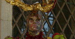 Close up of a typical venetian mask Stock Footage