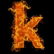 Fire small letter K - stock photo