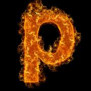 Fire small letter P Stock Photos