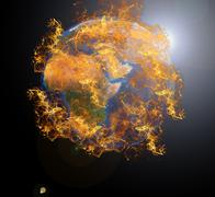 Earth planet at fire - stock photo