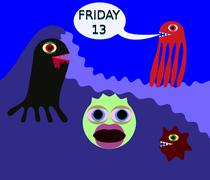 Underwater monster in 80s style say friday 13 Stock Illustration