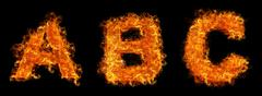 Set of Fire letter A B C Stock Photos