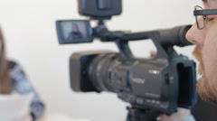 Shooting conference on camera 3 Stock Footage