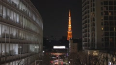 Night - Tokyo tower seen from Roppongi hills Stock Footage