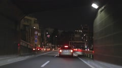 Tokyo highway drive - pass by Tokyo tower night - stock footage