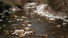 snowy rocks in river appalachia - stock footage