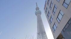 Tokyo Sky tree building - Asahi building - sunny dolly Stock Footage