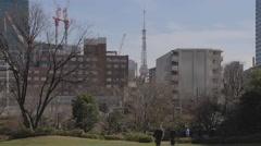 Tokyo midtown park - Tokyo Tower Stock Footage