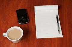 Blank Pad of Paper, Pen and Coffee Stock Photos