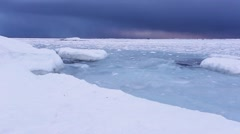 Freezing water in the Arctic fjord - Spitsbergen, Svalbard - stock footage