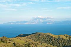 A view of Morocco across the Strait of Gibraltar - stock photo