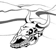Bull Skull Stencil - stock illustration