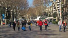 Las Ramblas Barcelona Stock Footage