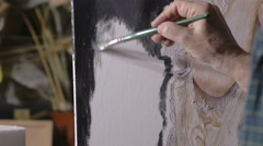 Stock Video Footage of particular on hand of woman using brush on canvas