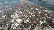 Stock Video Footage of Plastic bottles and other trash floating in ocean