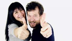 Man and woman happy thumb up suddenly shouting like crazy Stock Footage