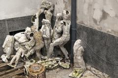 Junk pile from sculptor studio - stock photo
