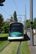 France, tramway in European Parliamant distric of Strasbourg Stock Photos
