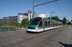France, tramway in European Parliamant distric of Strasbourg - stock photo