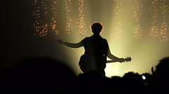 Rock concert, guitarist playing on stage Stock Footage