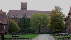 Static shot of the courtyard and medieval castle Stock Footage