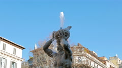 Triton fountain, Piazza Barberini. Rome, Italy  Stock Footage