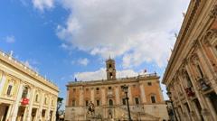 Piazza del Campidoglio. Zoom. Capitoline Hill, Rome, Italy  - stock footage