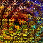 Psychedelic Colorful Art Background. Abstract Decorative Grunge. Weird Shapes. - stock illustration