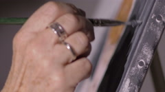 particular on hand of a painter - stock footage