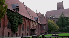 Right pan of the courtyard and medieval castle 2 Stock Footage