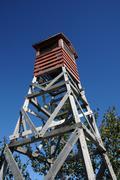 Quebec; observation platform in the village of Roberval - stock photo