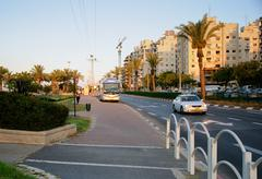 Ha-Sitvanit bus stop area at sunset in Rishon Le Zion - stock photo